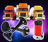 Zone-Tech-12V-Dual-Trumpet-Horn-Premium-Quality-Classic-Black-Super-Loud-Powerful-Train-Sound-Shiny-Dual-Car-Van-Truck-Boat-Air-Horn