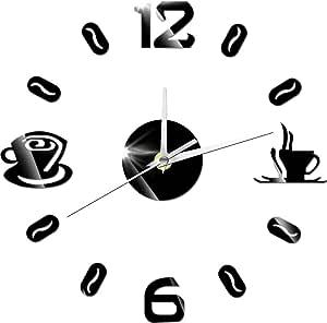 ساعة حائط رقمية حديثة تُلصق على الجدار مصنوعة من الاكريليك بشكل اكواب قهوة ثلاثية الابعاد لتزيين المنازل