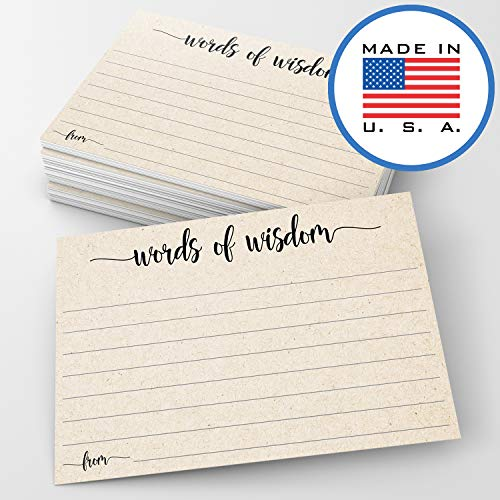 321Done Words of Wisdom Card (50 Cards) 4 x 6 - Blank Advice Cards for Wedding Bridal Shower Baby Shower Mr and Mrs Bride and Groom Graduation - Made in USA - Tan Kraft Color