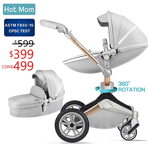 Baby Stroller 360 Rotation Function,Hot Mom Baby Carriage Pushchair Pram 2019,Grey (Best Rated Strollers 2019)
