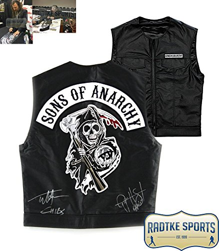 """Tommy Flanagan & Ryan Hurst Autographed/Signed Officially Licensed Sons of Anarchy Black Biker Vest with """"Chibs"""" and """"Opie"""" Inscriptions"""