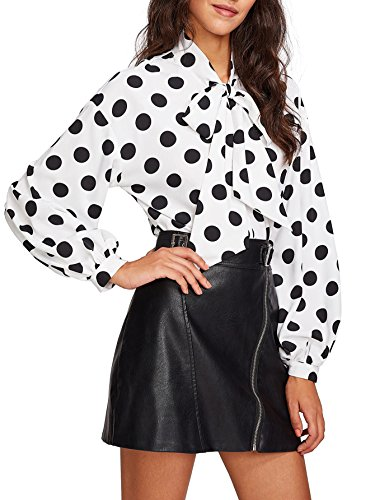 Floerns Women's Bow Tied Neck Lantern Long Sleeve Polka Dot Blouse Beige M ()