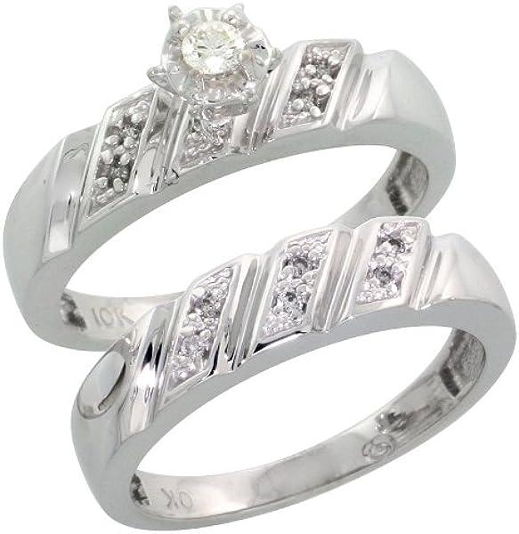 9 ct oro blanco Ladies 2 piezas Diamond Engagement Juego de anillos de boda, tamaño K