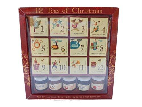 12 Gourmet Teas of Christmas with European Fruit Preserves Assortment ()