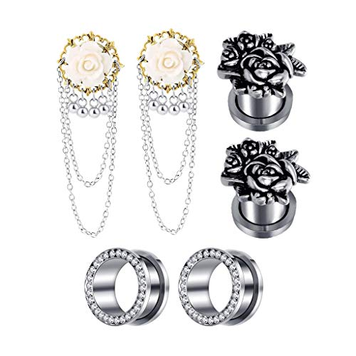 Fityle 3 Pairs Screw Tunnels Plug Stainless Steel Ear Expander Piercings Rose Flower Rhinestone Tunnel Chain Dangle - 8mm