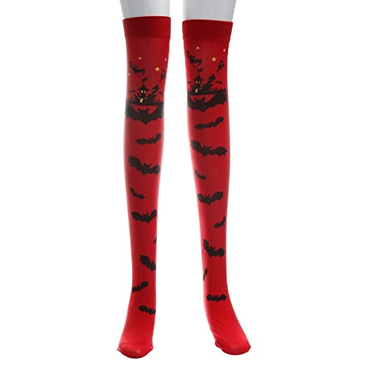 215fa082894 FimKaul Women s Sexy Extra Long Thigh High Socks Knee High Stockings for  Halloween Party (Red