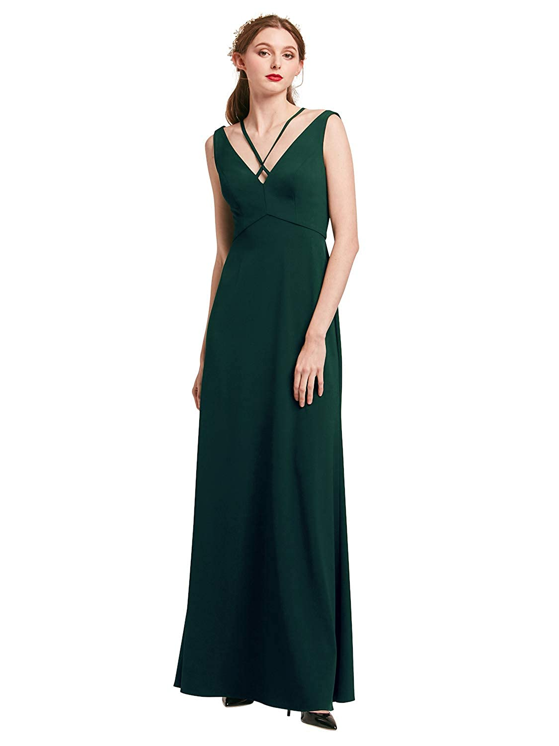 Dark Green Alicepub Women Evening Gowns Elegant Formal Dresses Long Prom Dress Sleeveless