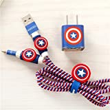 Chronex MEGA COMBO 4-in-1 Spiral Wire Cable Protector + Cable Organizer + Cable Wrap + Sticker - Captain America