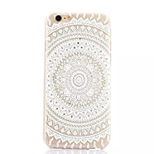 """iPhone 6/6s (4.7"""") Paisley Henna Silicone Phone Case / White Circular Mandala Floral Pattern Gel Cover for Apple iPhone 6S 6 (4.7"""") / Screen Protector & Cloth / iCHOOSE"""