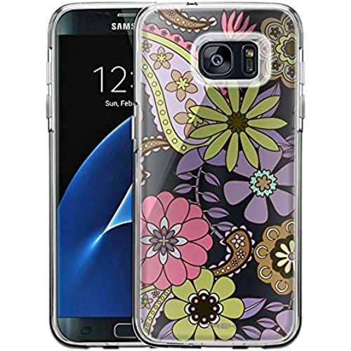 Samsung Galaxy S7 Edge Case, Slim Fit Snap On Cover by Trek Lavender Paisley Garden Clear Case Sales