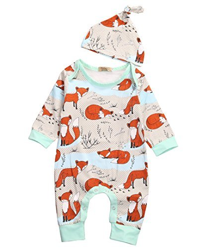 Newborn Baby Boy Girl Romper Infant Fox Jumpsuit Long Sleeves Outfits Clothes (70(0-3M), Floral) -
