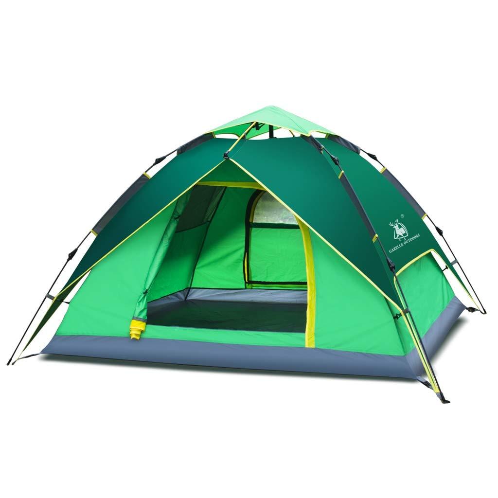 テントアウトドア3-4人防水キャンプクライミング油圧完全自動スピードオープンテント  緑 B07P2CJHB9