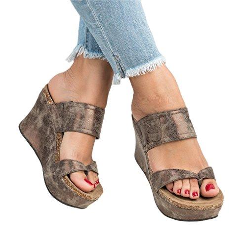 Minetom Flip Mujer De Gladiador Verano Marrón Romanas Toe Cuña PU Casual Plataforma Sandalias Flops Chancletas Planas Sandals Tacón Peep agrxpqaw