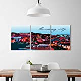 Philiphome 3 Pieces Modern Wall Art Decor Frameless the roofs european city vector illustration Home Print Decor Living Room W12 x H16 x 3pcs