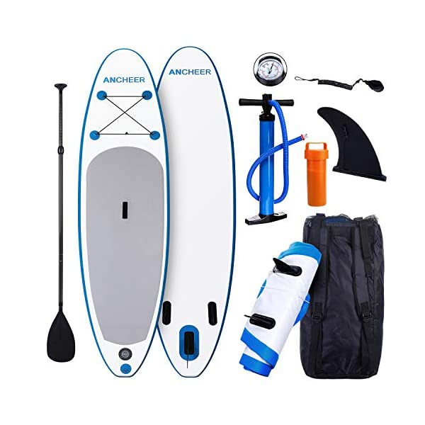Smibie Inflatable Stand Up Paddle Board (120 x 30 x 6 inch) with 1000D  Brushed PVC Material, Adjustable Paddle and Travel Backpack, for Kids,  Teens