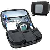 USA Gear Diabetic Supplies Travel Case Organizer for Blood Glucose Monitoring Systems, Syringes, Pens, Insulin Vials & Lancets - ACCU-CHEK Nano, Bayer Contour, TRUEtest & More Kits - Black