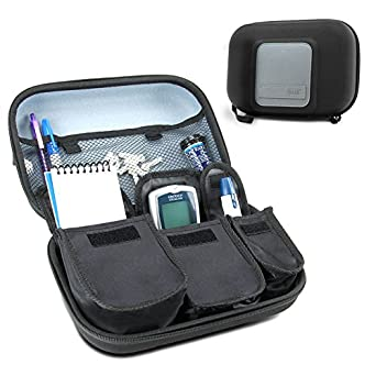 Usa Gear Diabetic Supplies Travel Case Organizer For Blood Glucose Monitoring Systems, Syringes, Pens, Insulin Vials & Lancets   Compatible With Accu Chek Nano, Bayer Contour, Tru Etest   Black by Usa Gear