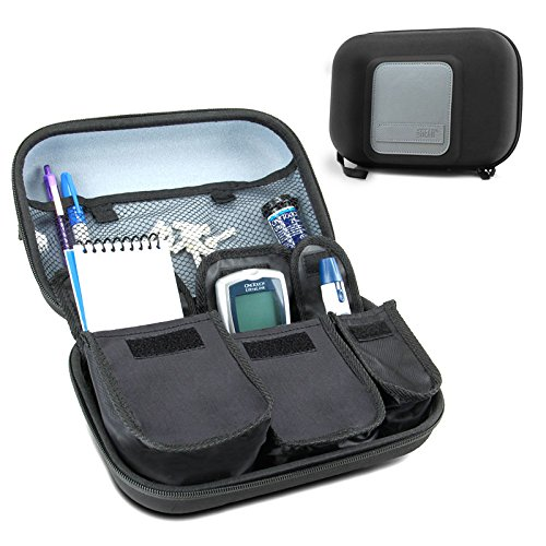 USA Gear Diabetic Supplies Travel Case Organizer for Blood Glucose Monitoring Systems, Syringes, Pens, Insulin Vials & Lancets - Compatible with ACCU-CHEK Nano, Bayer Contour, TRUEtest - Black