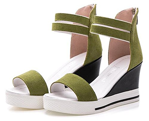Chfso Mujeres Trendy Tobillo Correa Cremallera Open Toe Alta Cuña Plataforma Sandalias Gladiador Verde