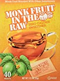 Monk Fruit in the Raw Sweeteners, Sugar Substitute, 4 Pack - 40 Count Each, 160 Total Packets
