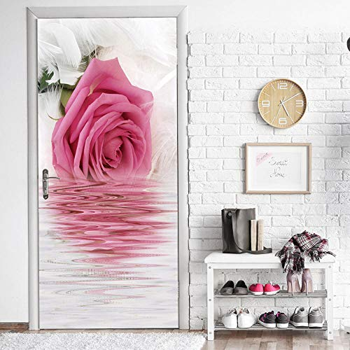 Flower Reflection Creative 3D Stereo Door Stickers Home Personality Decorative Wall Stickers Self-Adhesive Adhesive Waterproof LMYLY (A Kind Of Flower That Begins With D)