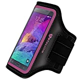 Note 4 Armband: Stalion Sports Running & Exercise Gym Sportband for Samsung Galaxy Note 4 & Note Edge (Fuchsia Pink) Water Resistant + Sweat Proof + Key Holder + ID / Credit Card / Money Holder