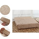 Japanese Tatami Floor Pillow Zafu Natural Seat, Meditation Pillow, Handcrafted Eco-friendly Breathable Pad Knitted Straw Flat Seat Cushion/Straw Futon Cushion for Zen,Yoga,Meditation- square, H: 11cm