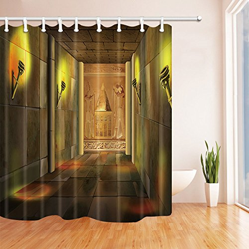 NYMB Digital painting of a Ancient Egyptian Temple Indoor with Columns and Torches Shower Curtains, Polyester Fabric Waterproof Bath Curtain, 69X70 in, Shower Curtain Hooks Included(Multi9)