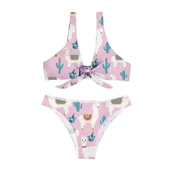 66252d6aaf0 UNICEU Women's High Waisted Two Piece Swim Surf Bikini Sets Cute Alpaca  Print Tie Knot Front