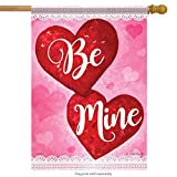 Cheap Big Red Hearts Valentine Day House Flag Be Mine Love Double Sided 28″ x 40″