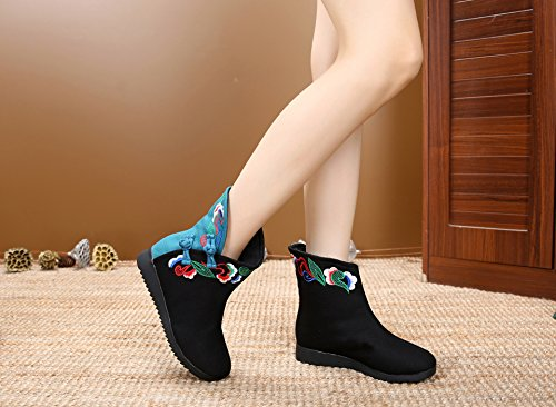 Fanwer Winter Keep Warm Womens Frog Short Boots Ricamati Suola In Gomma Stile Cinese Flat Con Stivaletto Nero