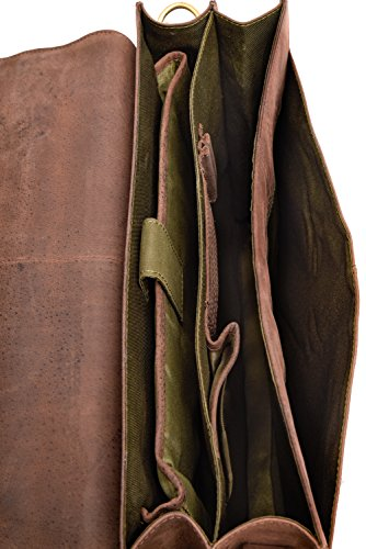 LEABAGS Miramar Briefcase of Genuine Buffalo Leather in Vintage Look - Muskat by LEABAGS (Image #5)