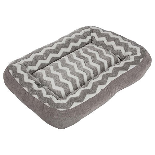 Precision Pet 24891 SnooZZy Hip as a Zig Zag Low Bumper Bed, Gray/White