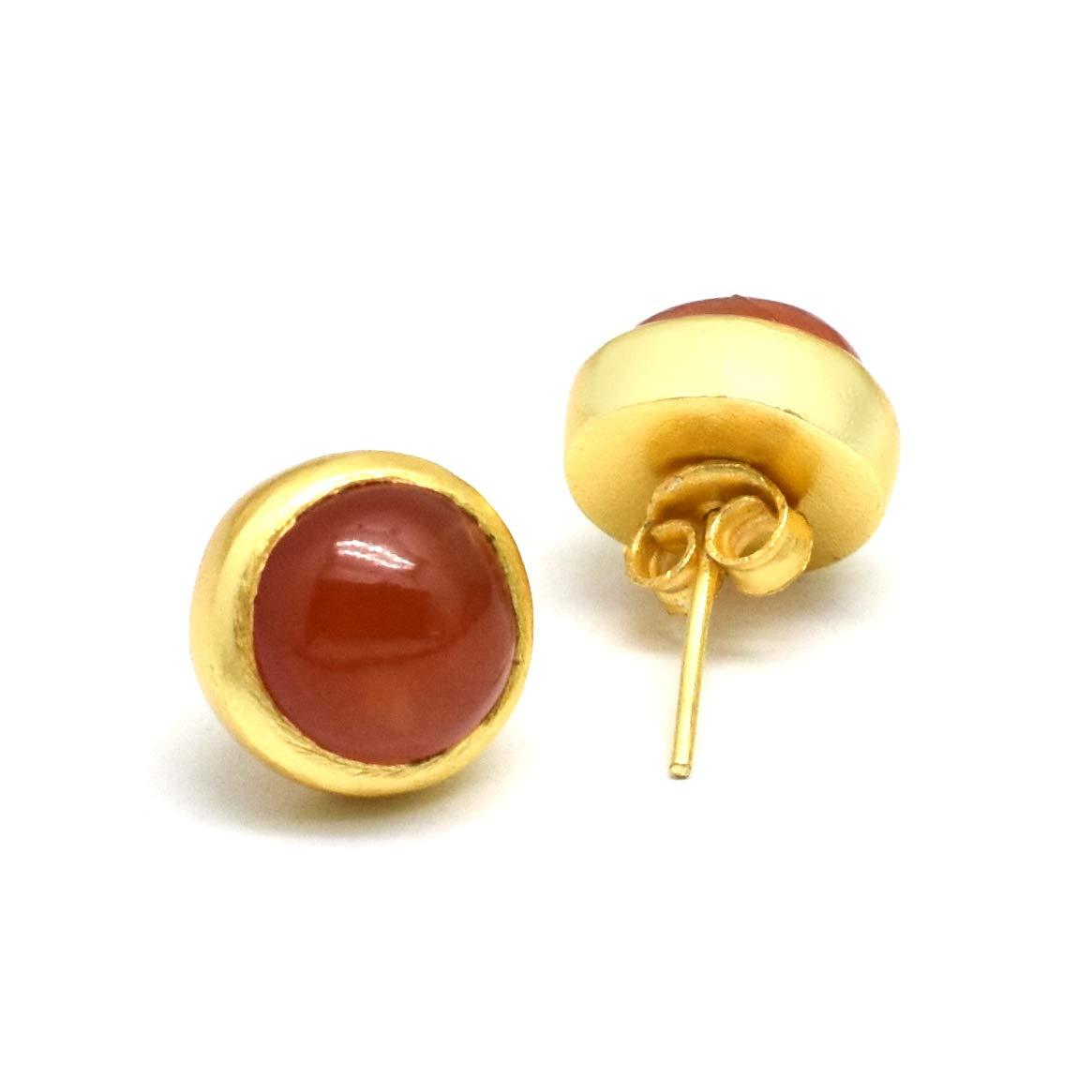 The V Collection earrings 22k gold plated carnelian handmade stud earrings