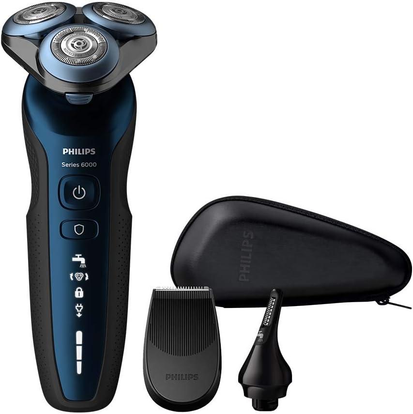 Philips - Afeitadora (Máquina de afeitar de rotación, MultiPrecision Blade System, Botones, SH50, 2 año(s), Black, Azul): Amazon.es: Salud y cuidado personal