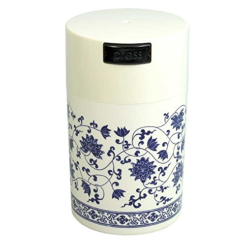 White Storage Caps - Tightpac America Teavac Vacuum Sealed Tea Storage Container with White Cap and Body/Floral Design, 6-Ounce