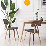 YEEFY Bent Wood Dining Chair Modern Dining Room Chairs Upholstered Living Room Chairs, Set of 2(Gray