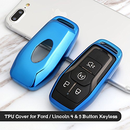 Blue Glossy Finish Chrome TPU Keyless Remote Fob Case Shell for Ford/Lincoln 4/5-Button Intelligent Keyless ()