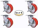 8'' X 2'' Swivel Caster Set - Heavy Duty Polyurethane Wheel on Steel Hub with Top Lock Brake - 1,200lb ea (4) Tool Box Set
