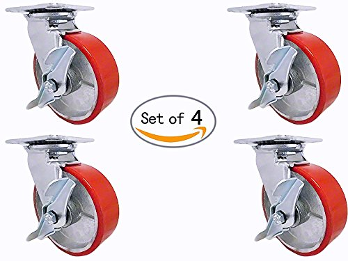 8'' X 2'' Swivel Caster Set - Heavy Duty Polyurethane Wheel on Steel Hub with Top Lock Brake - 1,200lb ea (4) Tool Box Set by Caster Barn