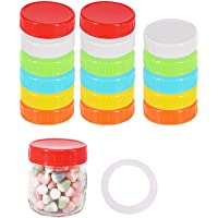 BPFY 70mm 24 Pack Colored Plastic Regular Mouth Mason Jar Lids With Sealing Rings, Plastic Storage Caps for Canning Jars…