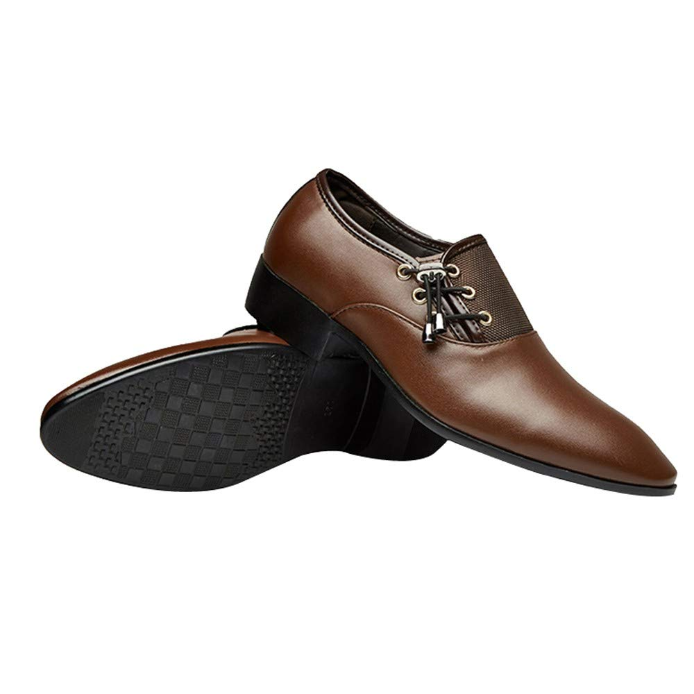 Inkach Men Lace-up Oxford Classic Faux Leather Business Dress Shoes Perforated Shoe