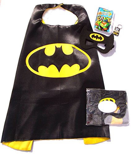 Three Piece Superhero Cape & Mask Sets for Pretend Play, Dress Up, & Parties by Color-N-Splash (Caped Crusader (Darth Vader Mask Off)