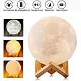 Fixinus 3D Printing Moon Light Lamp, 5.9 Inch LED Moon Night Light, Dimmable with Tap Control, Warm & Cool White & Warm White, USB Rechargeable Home Decor Night Lights for Baby Room Valentine's Gift