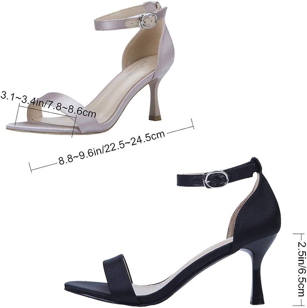 Happyyami Sandale à Talons Hauts Et Sandales à Talons Hauts avec Boucle à Bride de Cheville Pointue à Bout Ouvert Chaussures pour Femmes Noir Noir