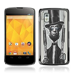 YOYOSHOP [Funny Abraham Lincoln & Shotguns] LG Google Nexus 4 Case