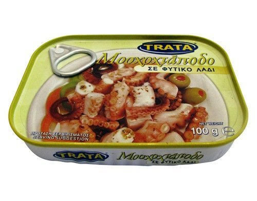 Greek Trata Canned Musky Octopus From the Aegean Sea in Vegetable Oil 100gr (Best Wine With Greek Food)