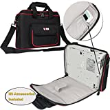 BUBM Projector Case, Travel Carrying Bag with Accessories Pockets and Shoulder Strap, Water-resistant, Well Protection, Fit for HITACHI, Epson, BenQ, Sharp and more. Small