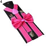 yanbirdfx Solid Color Kids Adult Clip-on Elastic Y-Shape Adjustable Suspenders Bowtie Set - Rose Red