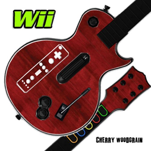 Nintendo Wii Guitar Hero Faceplates (Mightyskins Skin Decal Cover for GUITAR HERO 3 III Nintendo Wii Les Paul - Cherry Woodgrain)